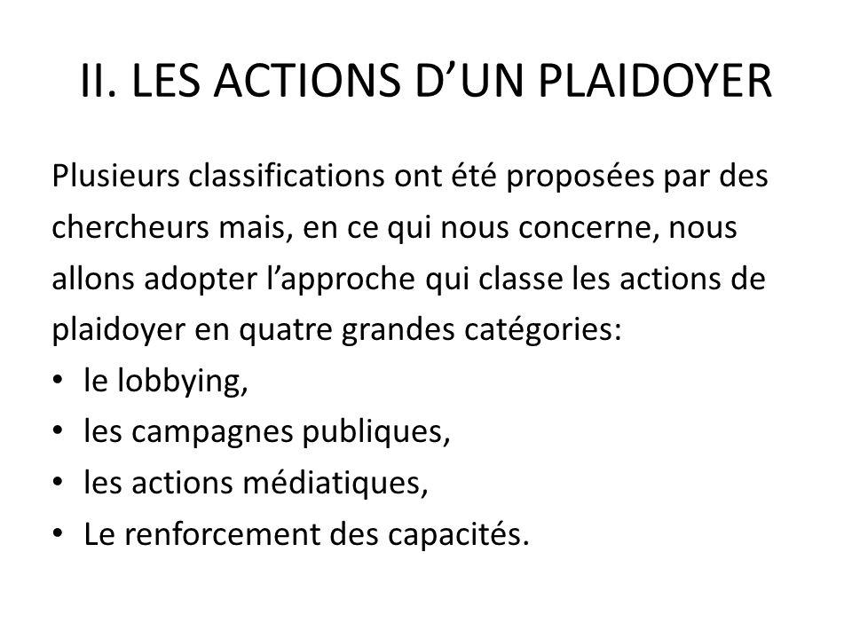II. LES ACTIONS DUN PLAIDOYER Plusieurs classifications ont été proposées par des chercheurs mais, en ce qui nous concerne, nous allons adopter lappro