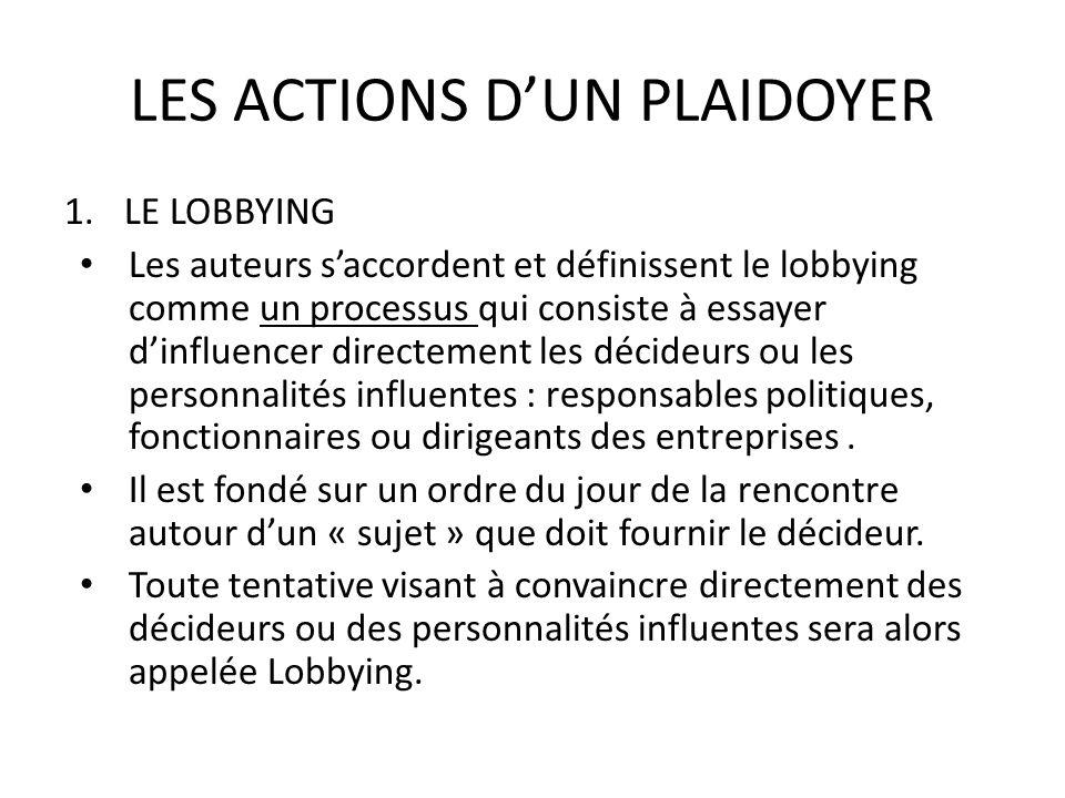 LES ACTIONS DUN PLAIDOYER 1.LE LOBBYING Les auteurs saccordent et définissent le lobbying comme un processus qui consiste à essayer dinfluencer direct