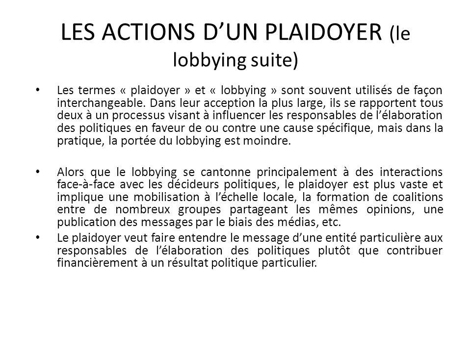 LES ACTIONS DUN PLAIDOYER (le lobbying suite) Les termes « plaidoyer » et « lobbying » sont souvent utilisés de façon interchangeable. Dans leur accep