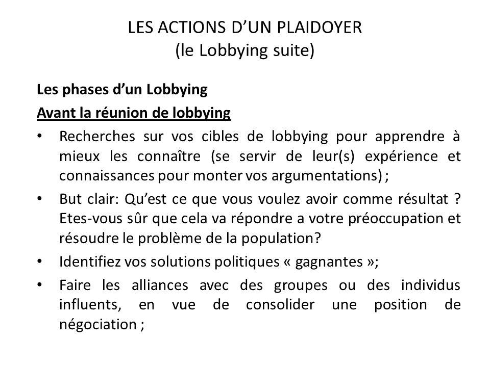 LES ACTIONS DUN PLAIDOYER (le Lobbying suite) Les phases dun Lobbying Avant la réunion de lobbying Recherches sur vos cibles de lobbying pour apprendr