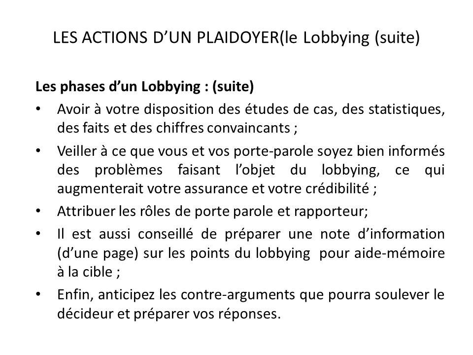 LES ACTIONS DUN PLAIDOYER(le Lobbying (suite) Les phases dun Lobbying : (suite) Avoir à votre disposition des études de cas, des statistiques, des fai