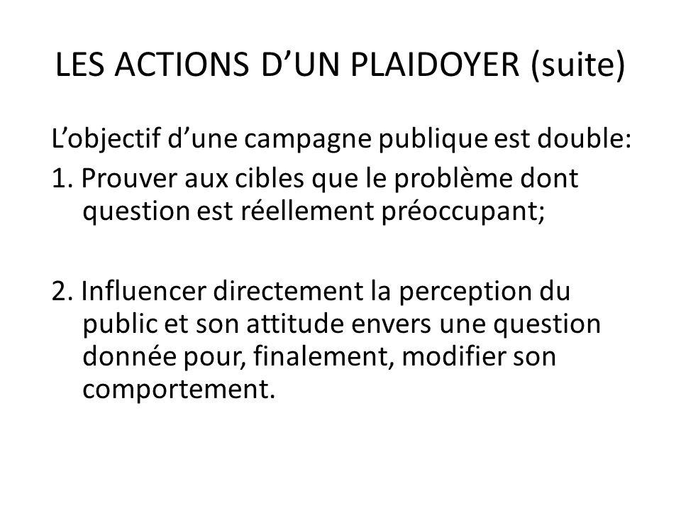 LES ACTIONS DUN PLAIDOYER (suite) Lobjectif dune campagne publique est double: 1. Prouver aux cibles que le problème dont question est réellement préo