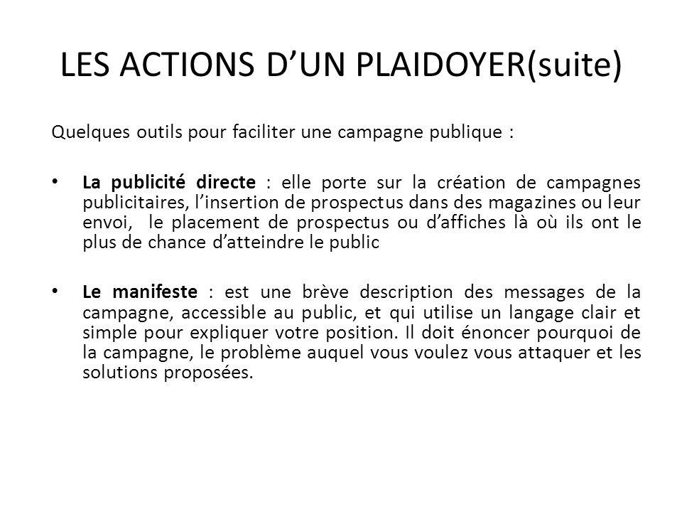 LES ACTIONS DUN PLAIDOYER(suite) Quelques outils pour faciliter une campagne publique : La publicité directe : elle porte sur la création de campagnes