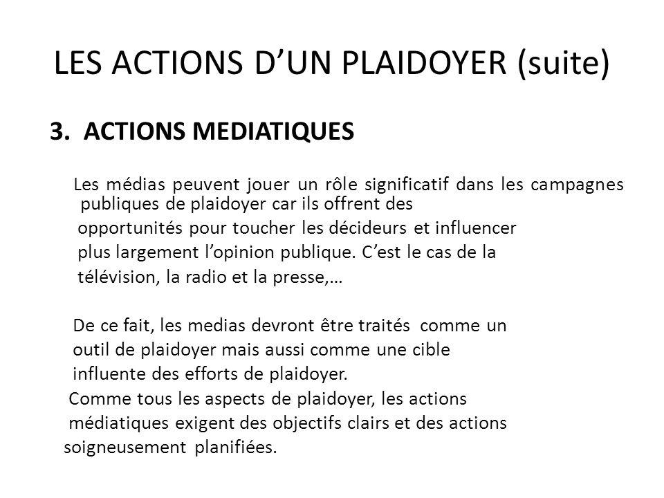 LES ACTIONS DUN PLAIDOYER (suite) 3. ACTIONS MEDIATIQUES Les médias peuvent jouer un rôle significatif dans les campagnes publiques de plaidoyer car i