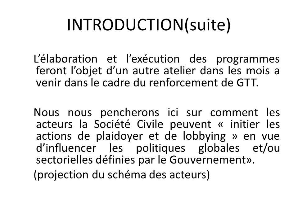 INTRODUCTION(suite) Lélaboration et lexécution des programmes feront lobjet dun autre atelier dans les mois a venir dans le cadre du renforcement de G