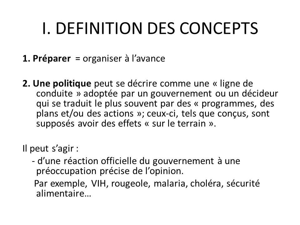 I. DEFINITION DES CONCEPTS 1. Préparer = organiser à lavance 2. Une politique peut se décrire comme une « ligne de conduite » adoptée par un gouvernem