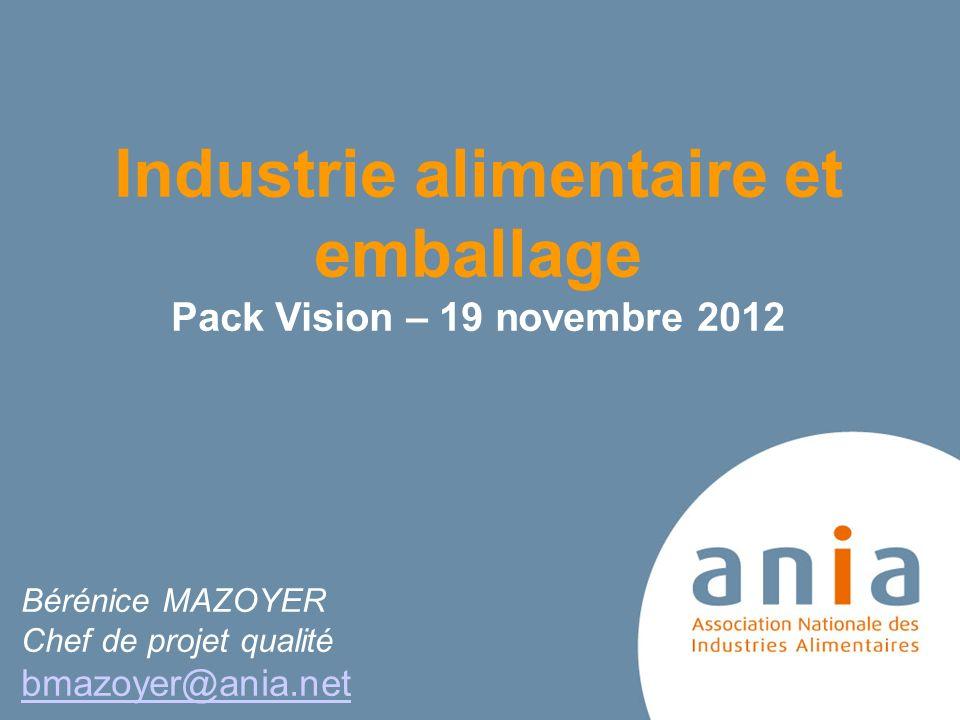 Industrie alimentaire et emballage Pack Vision – 19 novembre 2012 Bérénice MAZOYER Chef de projet qualité bmazoyer@ania.net