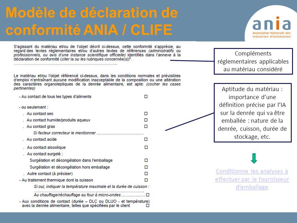Modèle de déclaration de conformité ANIA / CLIFE Compléments réglementaires applicables au matériau considéré Aptitude du matériau : importance dune d