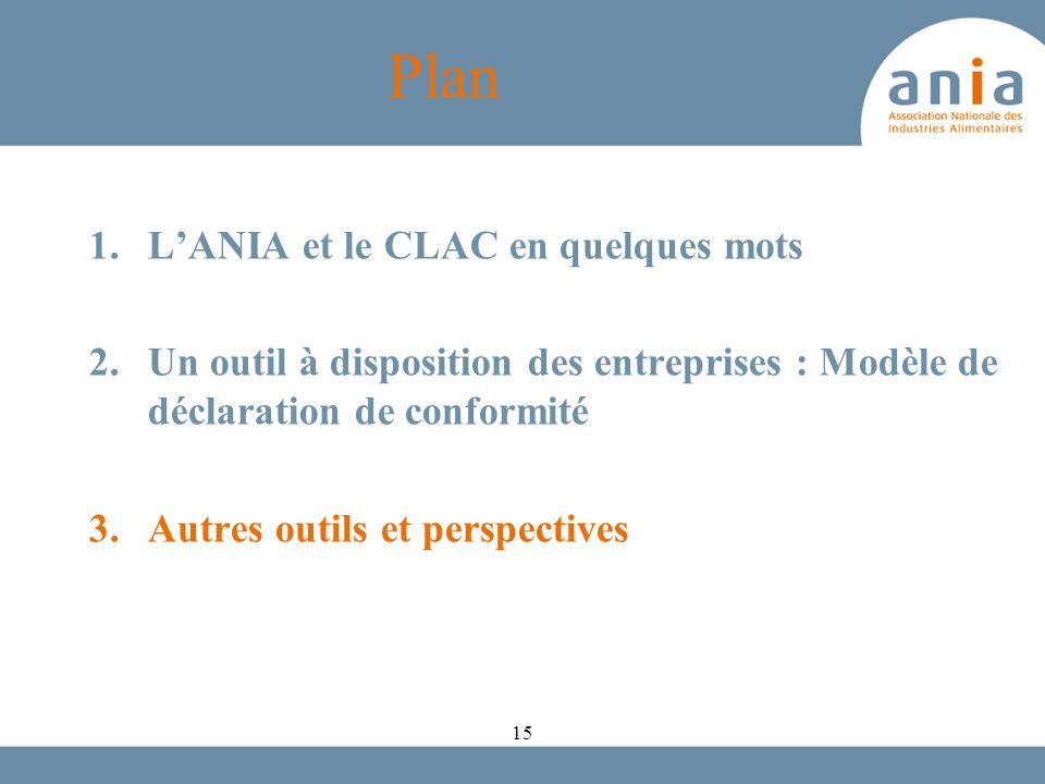Plan 1.LANIA et le CLAC en quelques mots 2.Un outil à disposition des entreprises : Modèle de déclaration de conformité 3.Autres outils et perspective