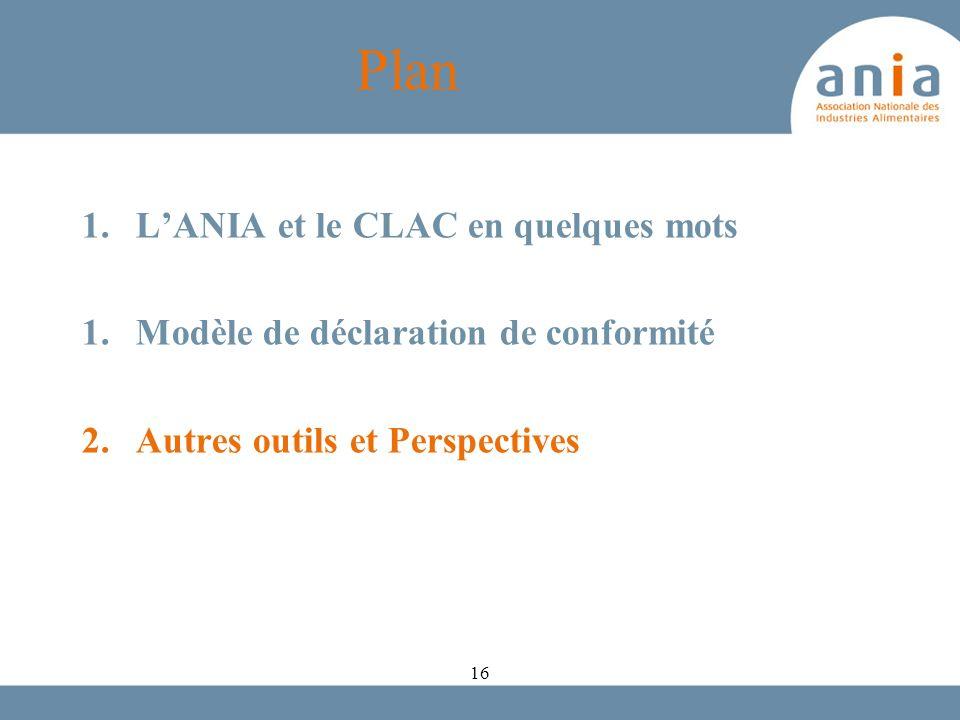 Plan 1.LANIA et le CLAC en quelques mots 1.Modèle de déclaration de conformité 2.Autres outils et Perspectives 16