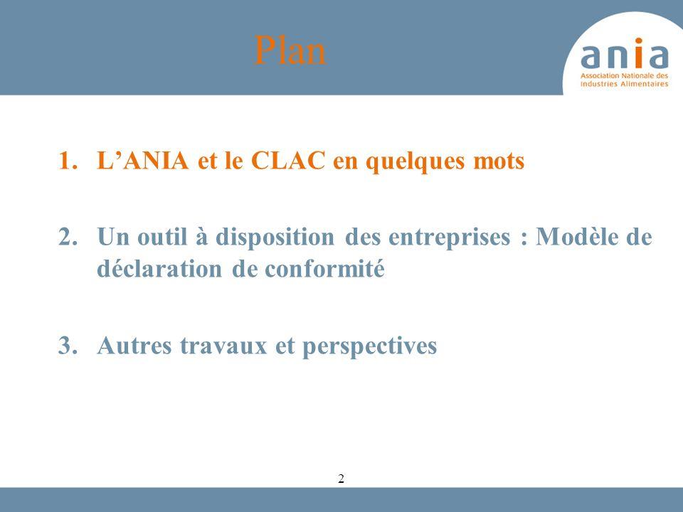Modèle de déclaration de conformité ANIA / CLIFE La réglementation fixe des taux de LMG en fonction des matériaux Certaines substances qui présentent un danger pour la santé humaine ont des LMS inférieure à la LMG.