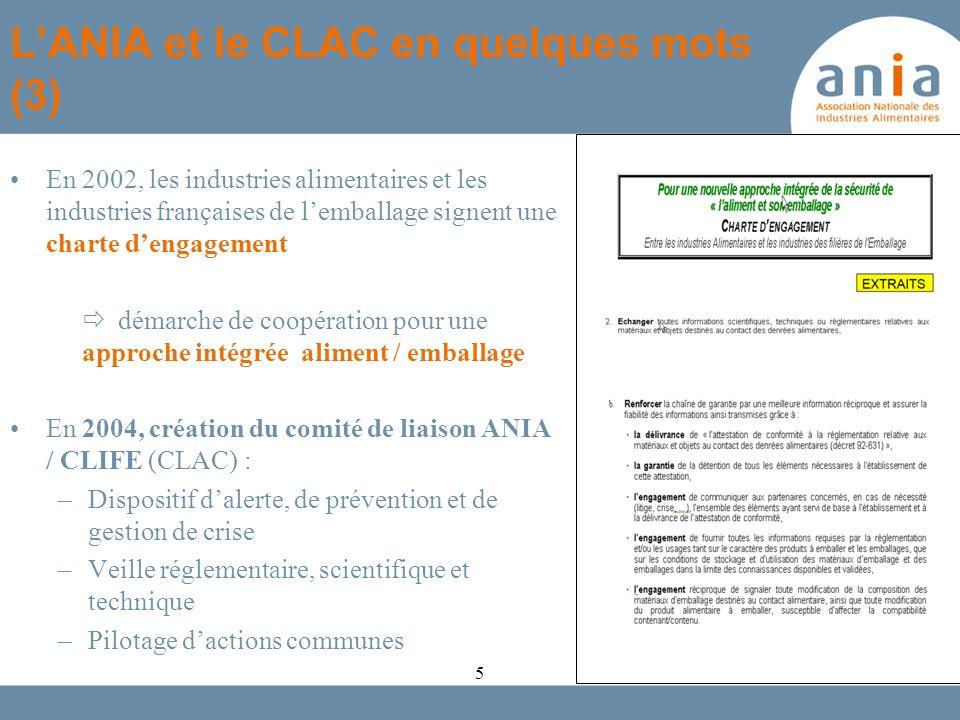 En 2002, les industries alimentaires et les industries françaises de lemballage signent une charte dengagement démarche de coopération pour une approc