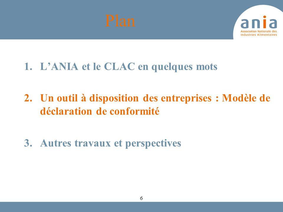 Plan 1.LANIA et le CLAC en quelques mots 2.Un outil à disposition des entreprises : Modèle de déclaration de conformité 3.Autres travaux et perspectiv