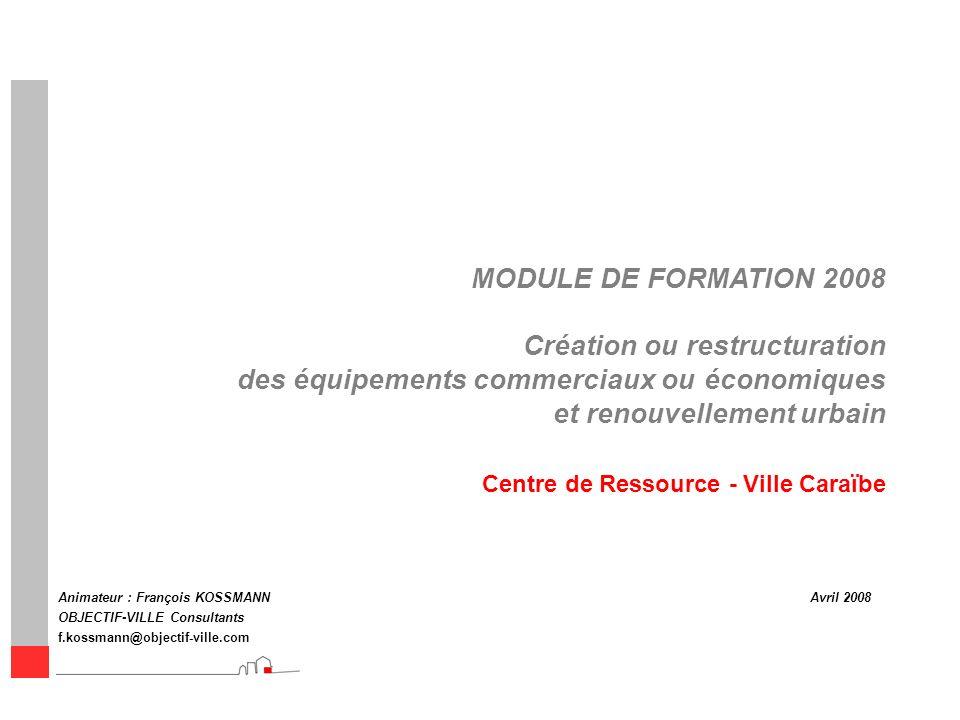 MODULE DE FORMATION 2008 Création ou restructuration des équipements commerciaux ou économiques et renouvellement urbain Animateur : François KOSSMANN
