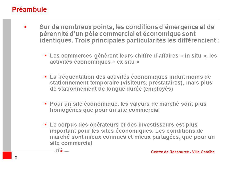 Sur de nombreux points, les conditions démergence et de pérennité dun pôle commercial et économique sont identiques. Trois principales particularités
