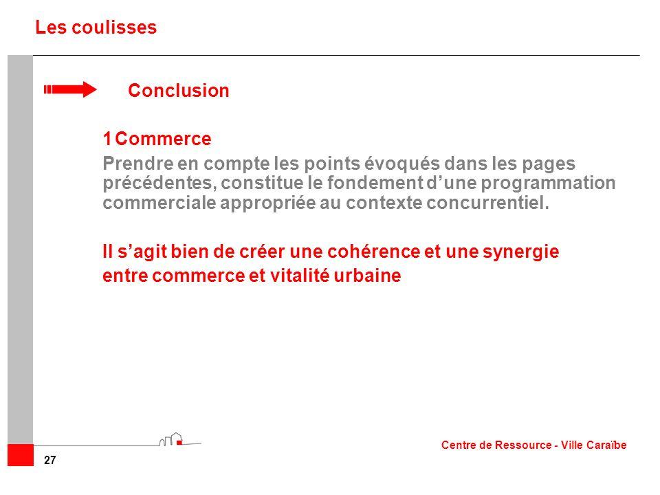 27 Les coulisses Conclusion 1Commerce Prendre en compte les points évoqués dans les pages précédentes, constitue le fondement dune programmation comme
