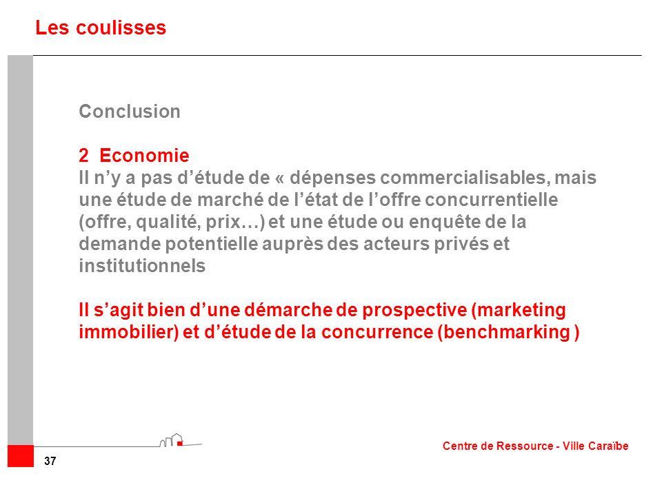 37 Les coulisses Conclusion 2Economie Il ny a pas détude de « dépenses commercialisables, mais une étude de marché de létat de loffre concurrentielle