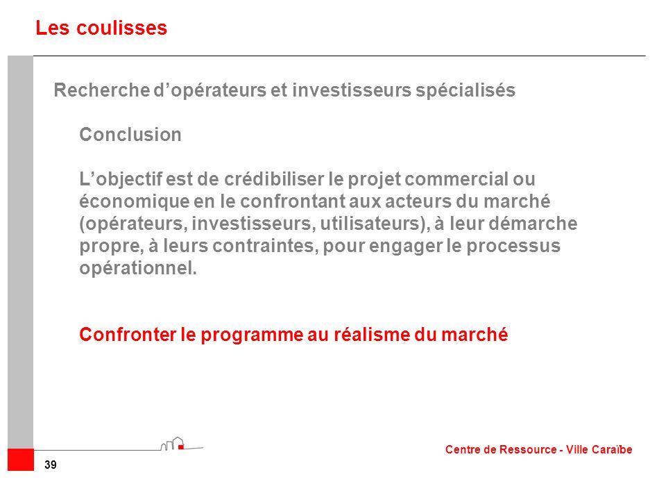 39 Les coulisses Recherche dopérateurs et investisseurs spécialisés Conclusion Lobjectif est de crédibiliser le projet commercial ou économique en le