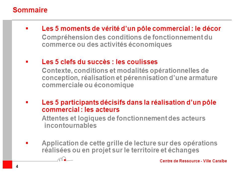 Les 5 moments de vérité dun pôle commercial : le décor Compréhension des conditions de fonctionnement du commerce ou des activités économiques Les 5 c