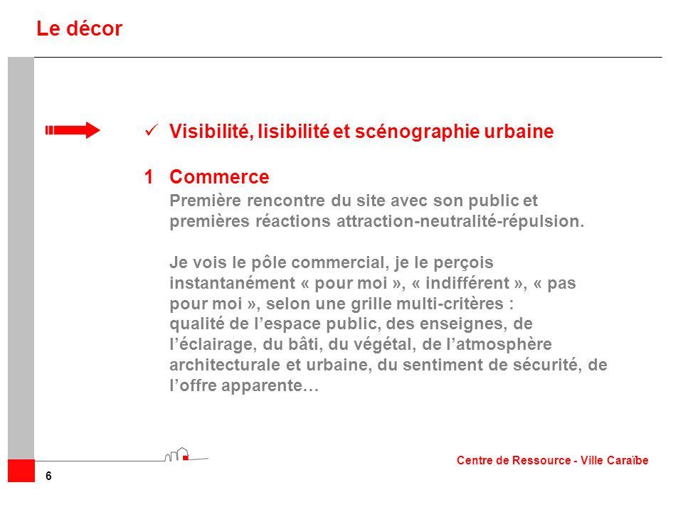 Visibilité, lisibilité et scénographie urbaine 1Commerce Première rencontre du site avec son public et premières réactions attraction-neutralité-répul