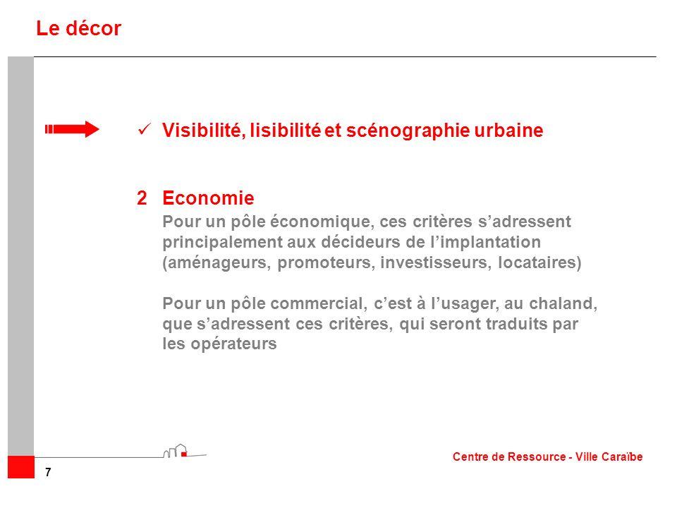 Visibilité, lisibilité et scénographie urbaine 2Economie Pour un pôle économique, ces critères sadressent principalement aux décideurs de limplantatio