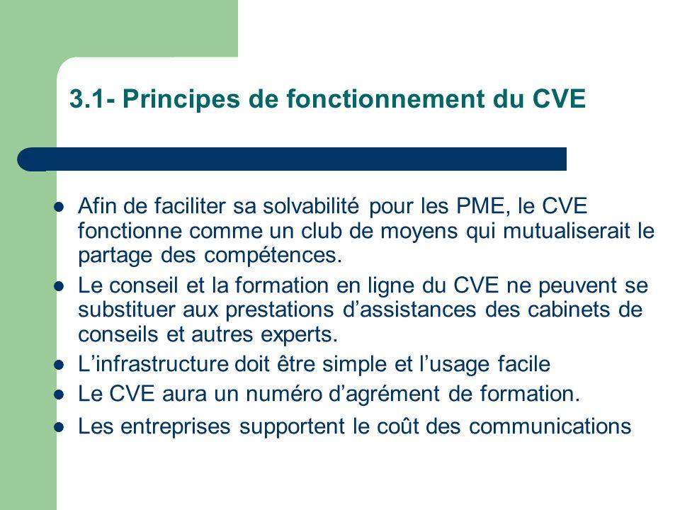 III - Comment ça marche pour lentreprise? 3.1 - Principes de fonctionnement du CVE 3.2- Laccés aux compétences, aux savoirs, en ligne. 3.3 - Comment o