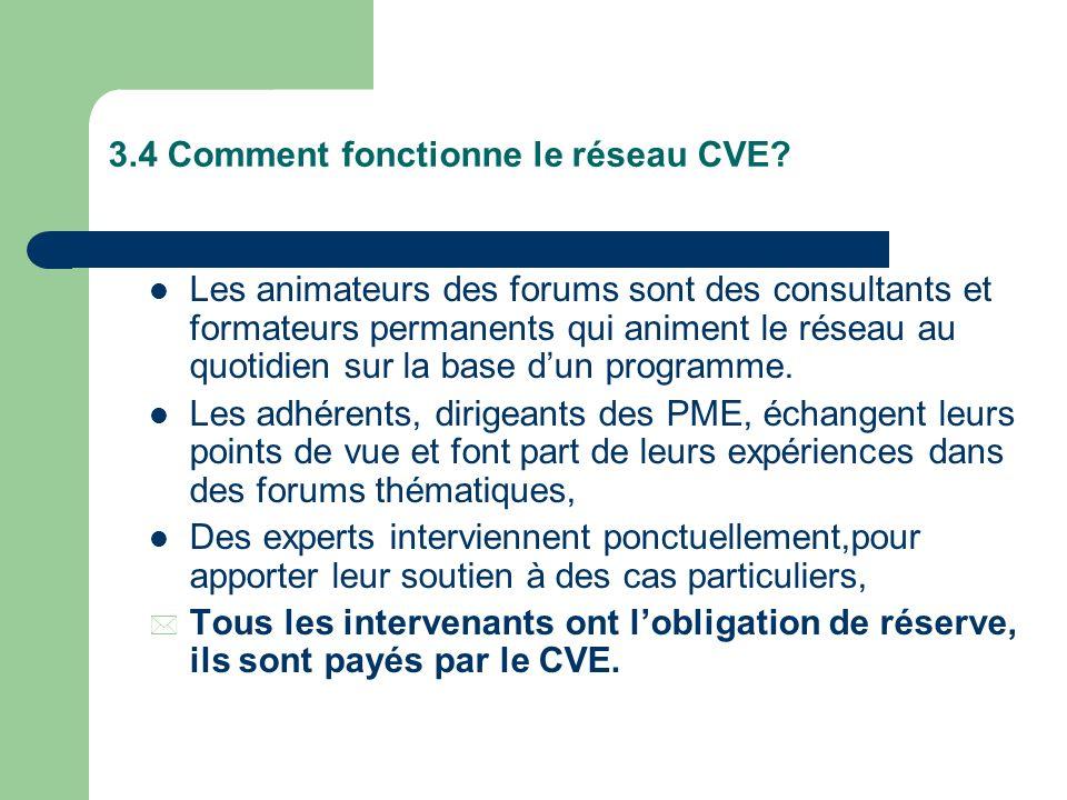 3.3 Comment on utilise le CVE? Lors de ladhésion, choix de préférences sur propositions de thèmes de travail et déchanges. Mise à disposition par une