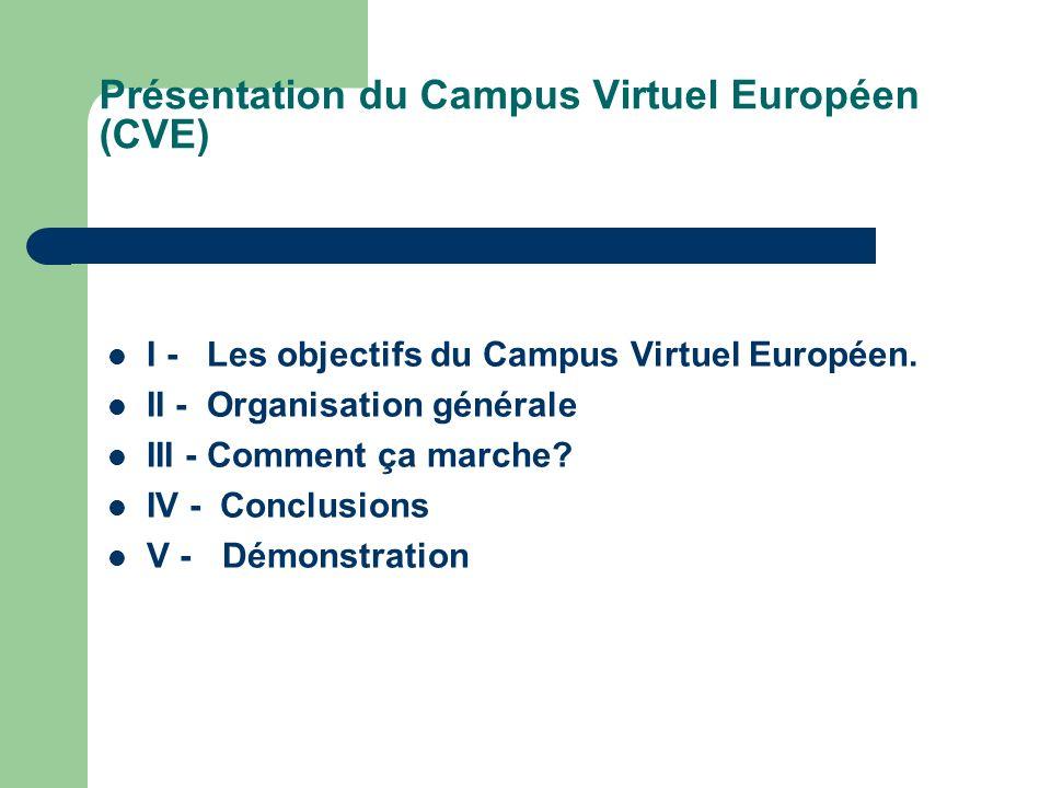 Présentation du Campus Virtuel Européen (CVE) I - Les objectifs du Campus Virtuel Européen.