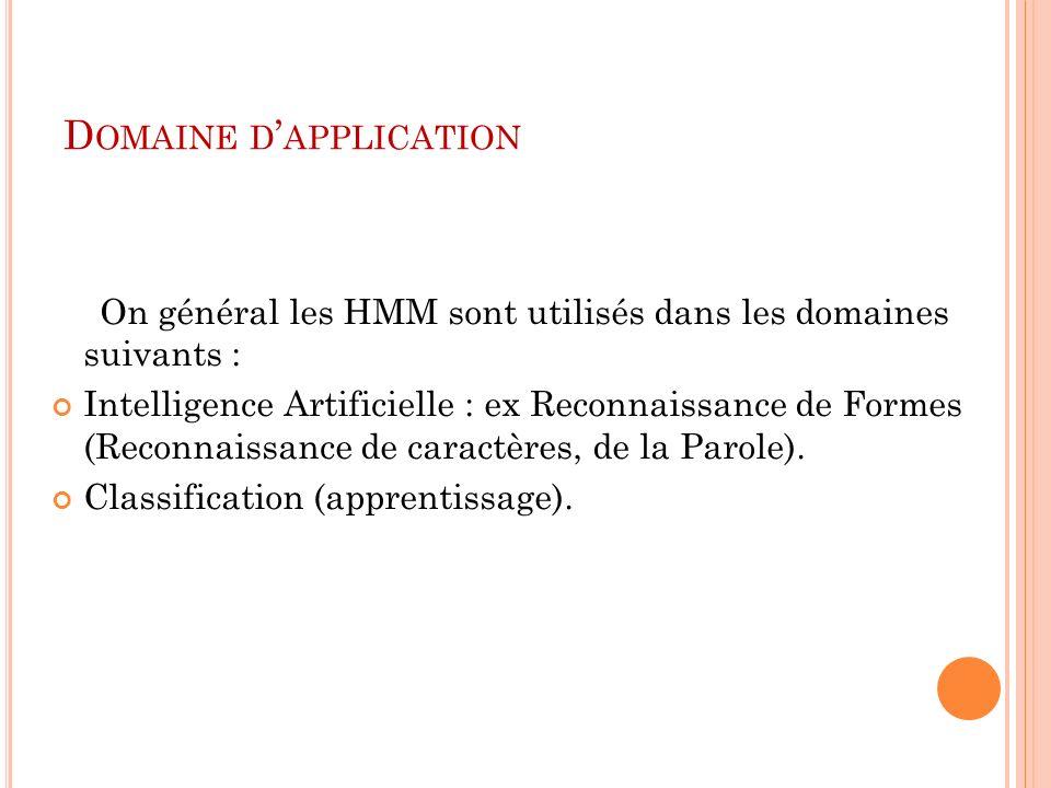 D OMAINE D APPLICATION On général les HMM sont utilisés dans les domaines suivants : Intelligence Artificielle : ex Reconnaissance de Formes (Reconnai