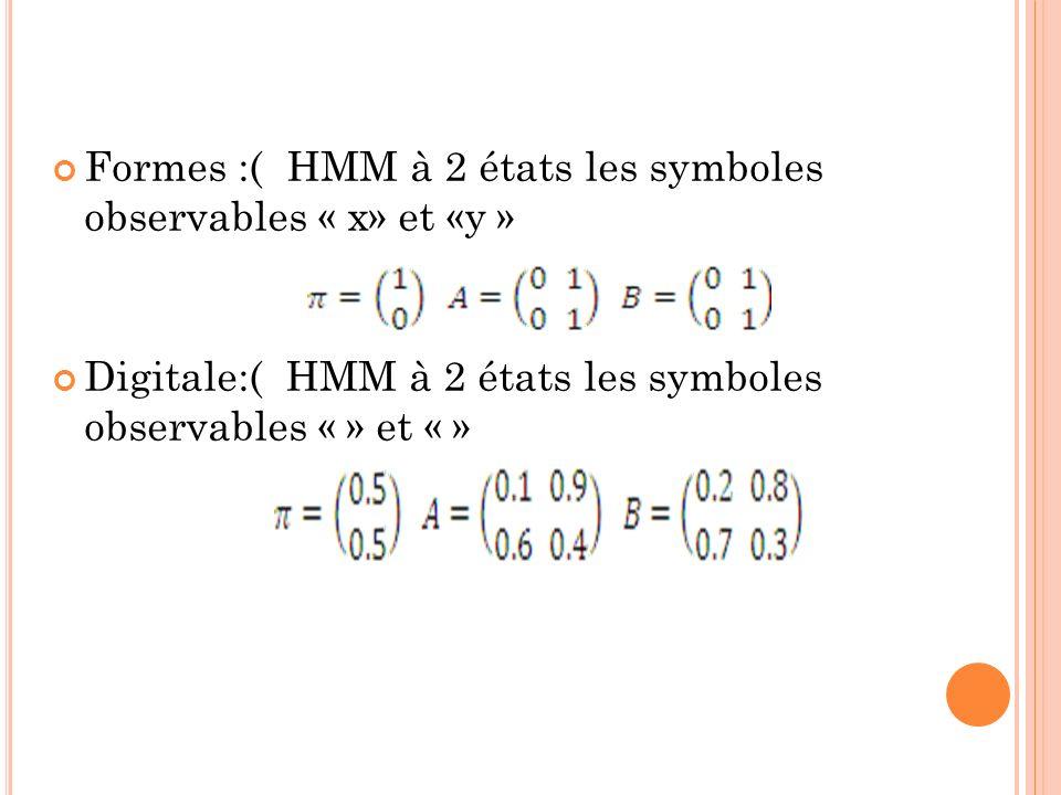 Formes :( HMM à 2 états les symboles observables « x» et «y » Digitale:( HMM à 2 états les symboles observables « » et « »