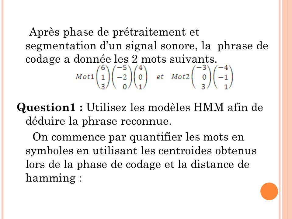 Après phase de prétraitement et segmentation dun signal sonore, la phrase de codage a donnée les 2 mots suivants. Question1 : Utilisez les modèles HMM