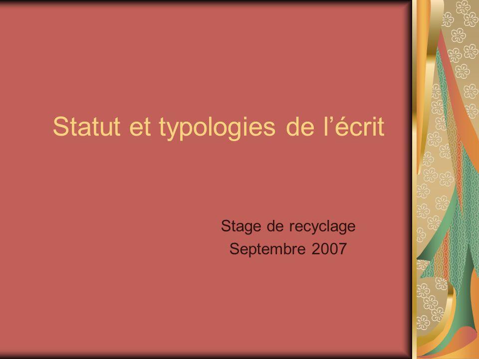 Statut et typologies de l ecrit - Angele Vella Lauwers - le 14 septembre 2007 2 Réflexion Quelles sont les caractéristiques de lécrit.