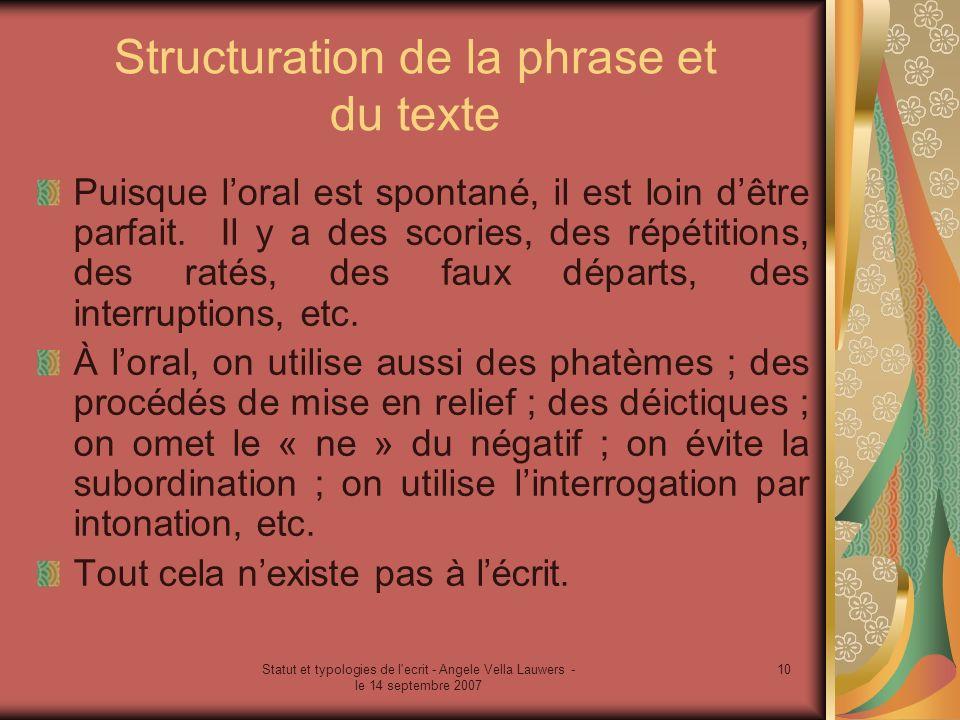 Statut et typologies de l'ecrit - Angele Vella Lauwers - le 14 septembre 2007 10 Structuration de la phrase et du texte Puisque loral est spontané, il