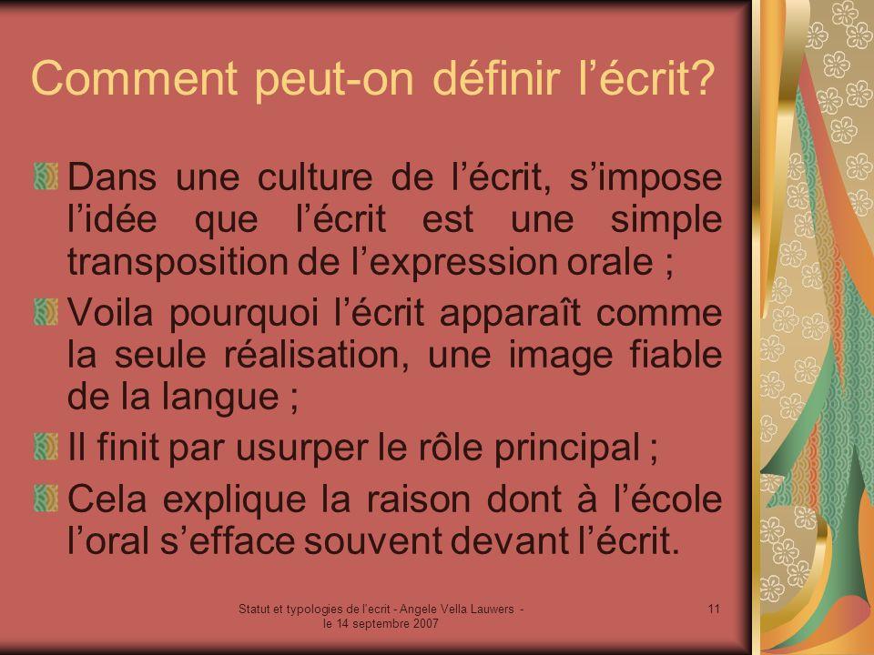 Statut et typologies de l'ecrit - Angele Vella Lauwers - le 14 septembre 2007 11 Comment peut-on définir lécrit? Dans une culture de lécrit, simpose l