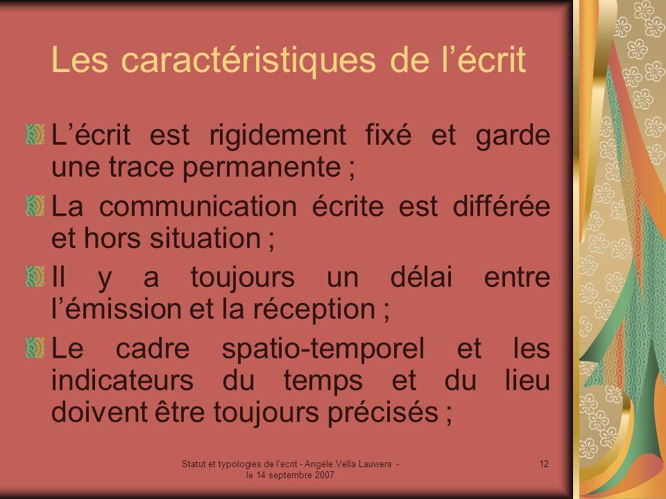 Statut et typologies de l'ecrit - Angele Vella Lauwers - le 14 septembre 2007 12 Les caractéristiques de lécrit Lécrit est rigidement fixé et garde un