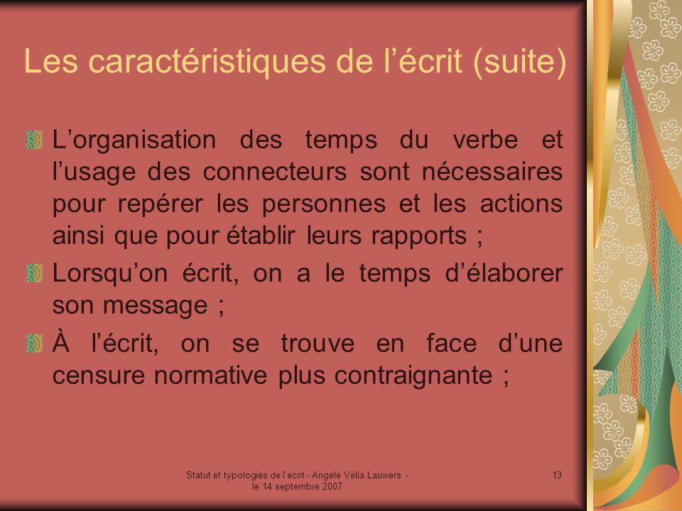 Statut et typologies de l'ecrit - Angele Vella Lauwers - le 14 septembre 2007 13 Les caractéristiques de lécrit (suite) Lorganisation des temps du ver