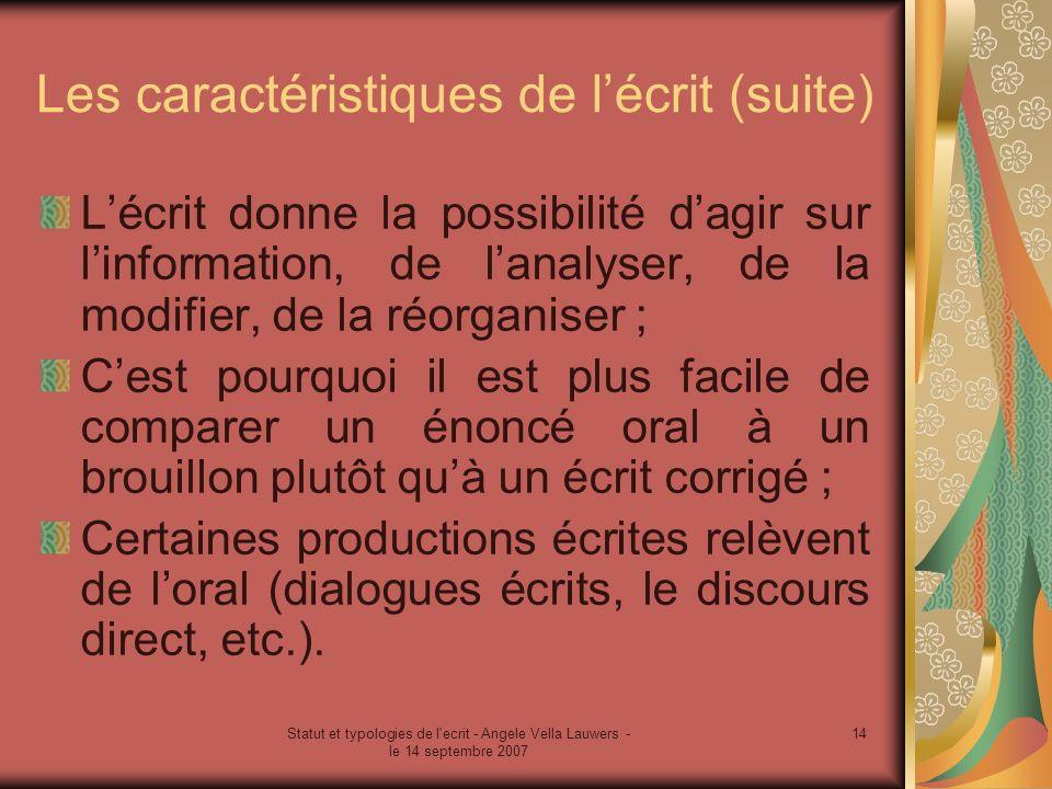 Statut et typologies de l'ecrit - Angele Vella Lauwers - le 14 septembre 2007 14 Les caractéristiques de lécrit (suite) Lécrit donne la possibilité da