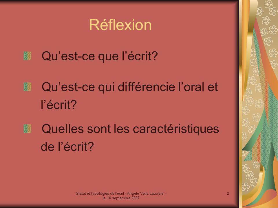 Statut et typologies de l'ecrit - Angele Vella Lauwers - le 14 septembre 2007 2 Réflexion Quelles sont les caractéristiques de lécrit? Quest-ce qui di