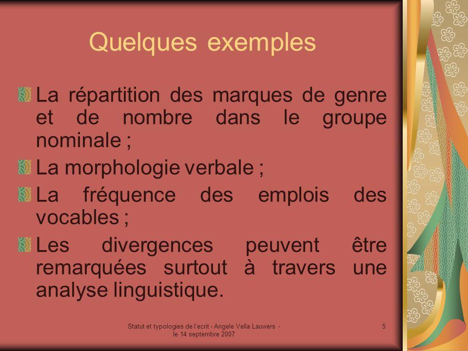 Statut et typologies de l ecrit - Angele Vella Lauwers - le 14 septembre 2007 6 Les différents niveaux de lanalyse linguistique Phonèmes/graphèmes ; Morphèmes et mots ; et Structuration de la phrase et du texte.