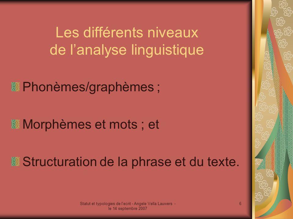 Statut et typologies de l'ecrit - Angele Vella Lauwers - le 14 septembre 2007 6 Les différents niveaux de lanalyse linguistique Phonèmes/graphèmes ; M