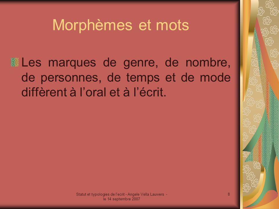 Statut et typologies de l'ecrit - Angele Vella Lauwers - le 14 septembre 2007 8 Morphèmes et mots Les marques de genre, de nombre, de personnes, de te