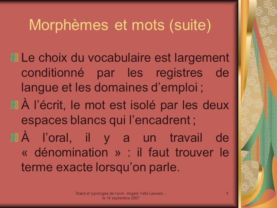 Statut et typologies de l'ecrit - Angele Vella Lauwers - le 14 septembre 2007 9 Morphèmes et mots (suite) Le choix du vocabulaire est largement condit