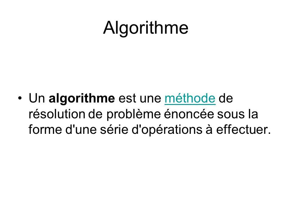 Algorithme Un algorithme est une méthode de résolution de problème énoncée sous la forme d'une série d'opérations à effectuer.méthode