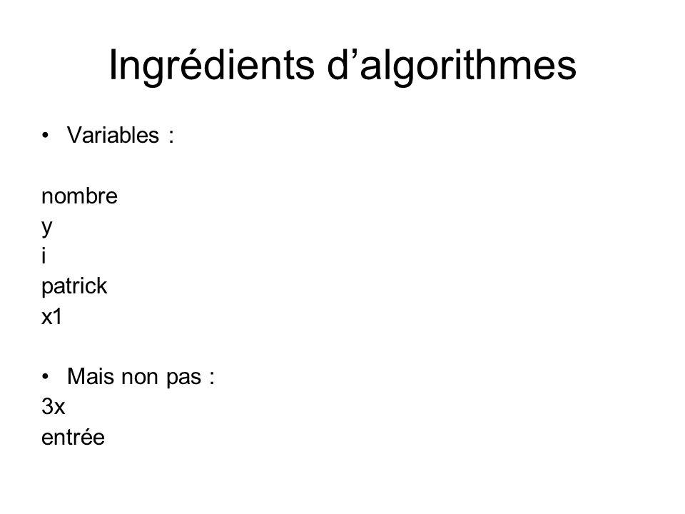 Ingrédients dalgorithmes Variables : nombre y i patrick x1 Mais non pas : 3x entrée