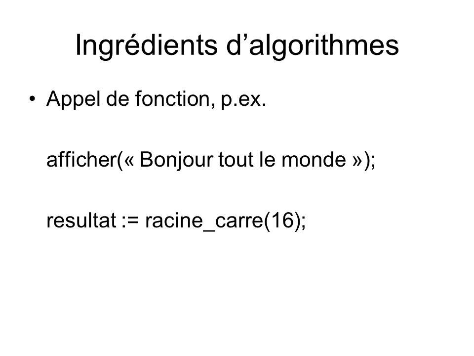 Ingrédients dalgorithmes Appel de fonction, p.ex. afficher(« Bonjour tout le monde »); resultat := racine_carre(16);