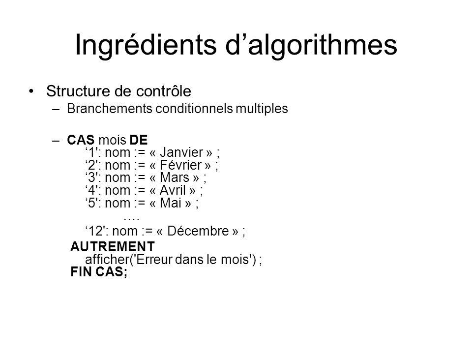Ingrédients dalgorithmes Structure de contrôle –Branchements conditionnels multiples –CAS mois DE 1': nom := « Janvier » ; 2': nom := « Février » ; 3'