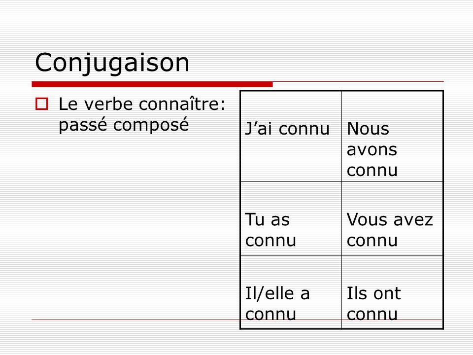 Conjugaison Le verbe connaître: passé composé Jai connuNous avons connu Tu as connu Vous avez connu Il/elle a connu Ils ont connu