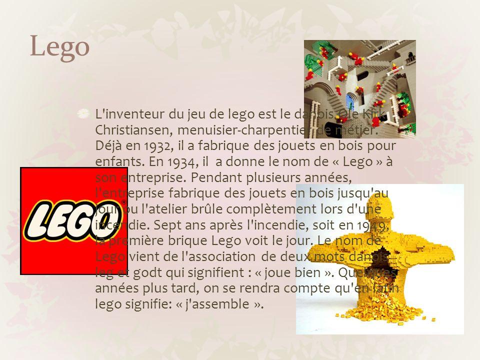 Lego L'inventeur du jeu de lego est le danois Ole Kirk Christiansen, menuisier-charpentier de métier. Déjà en 1932, il a fabrique des jouets en bois p