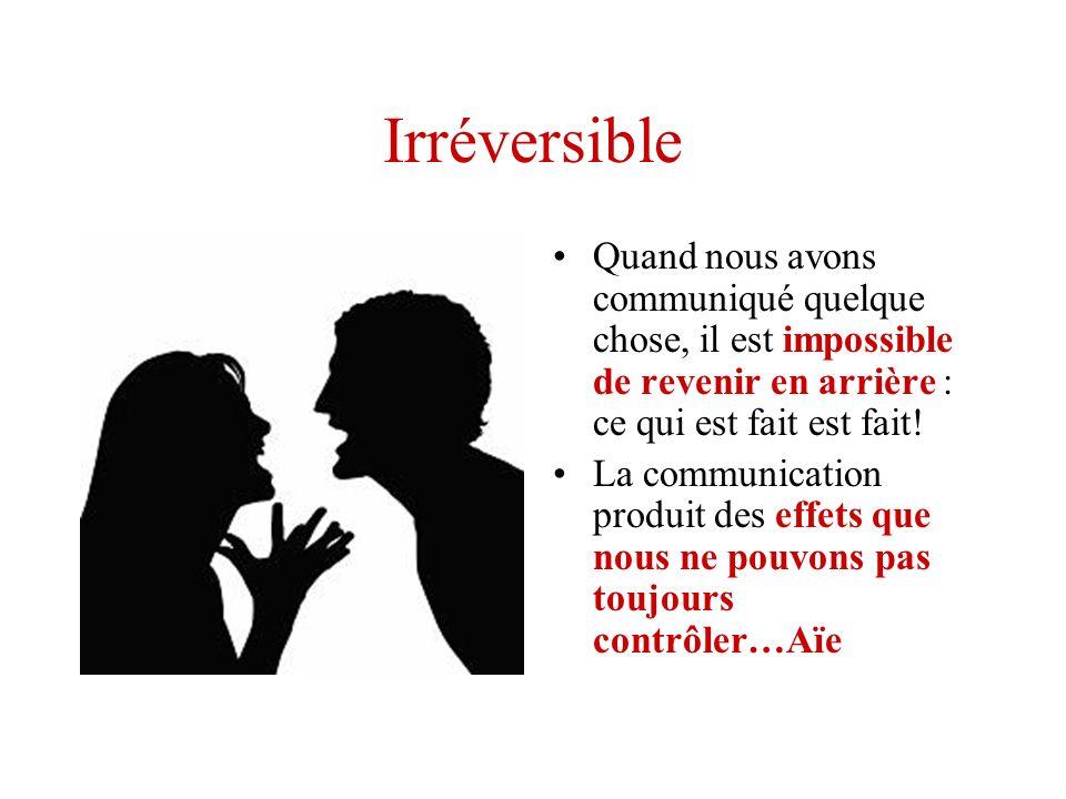 Irréversible Quand nous avons communiqué quelque chose, il est impossible de revenir en arrière : ce qui est fait est fait! La communication produit d