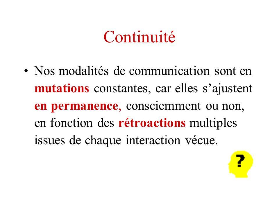 Continuité Nos modalités de communication sont en mutations constantes, car elles sajustent en permanence, consciemment ou non, en fonction des rétroa